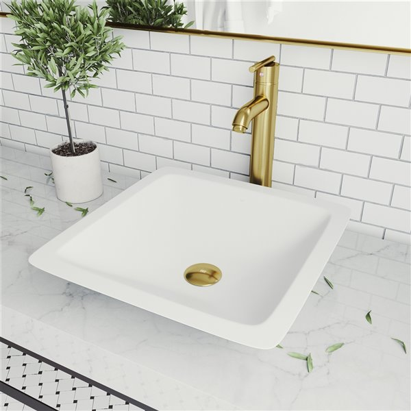 VIGO Begonia Matte White Bathroom Sink - Matte Gold Faucet