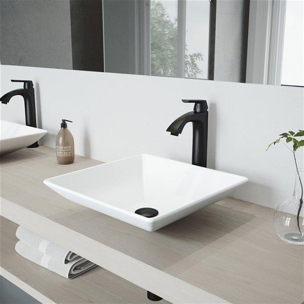 VIGO Hibiscus Bathroom Sink with Matte Black Faucet - 16-in - White