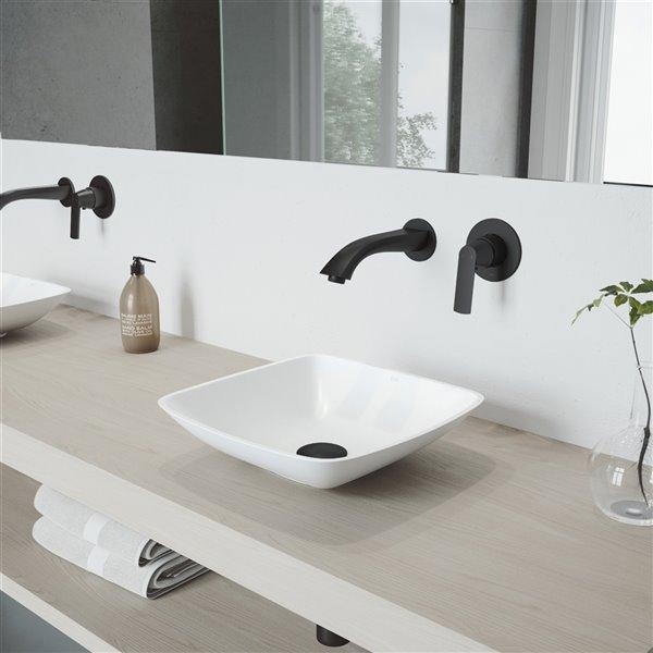 VIGO Hyacinth Matte White Bathroom Sink - Matte Black Faucet