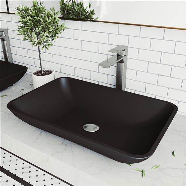 Lavabo de salle de bains Hadyn de VIGO, 22,25 po, noir mat