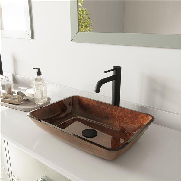 VIGO Russet Red and Brown Bathroom Sink - Matte Black Faucet