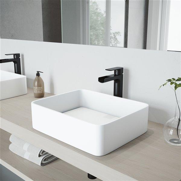 VIGO Jasmine Matte White Bathroom Sink - Matte Black Faucet