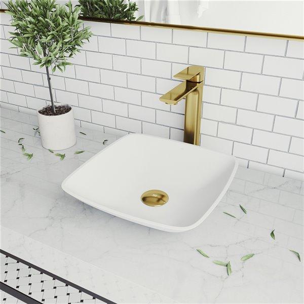 vigo hyacinth matte white bathroom sink matte gold faucet