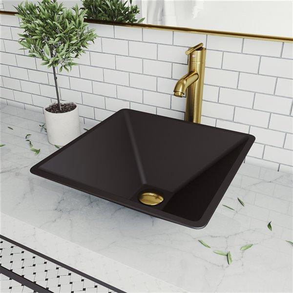 VIGO Serato Matte Black Bathroom Sink - Matte Gold Faucet
