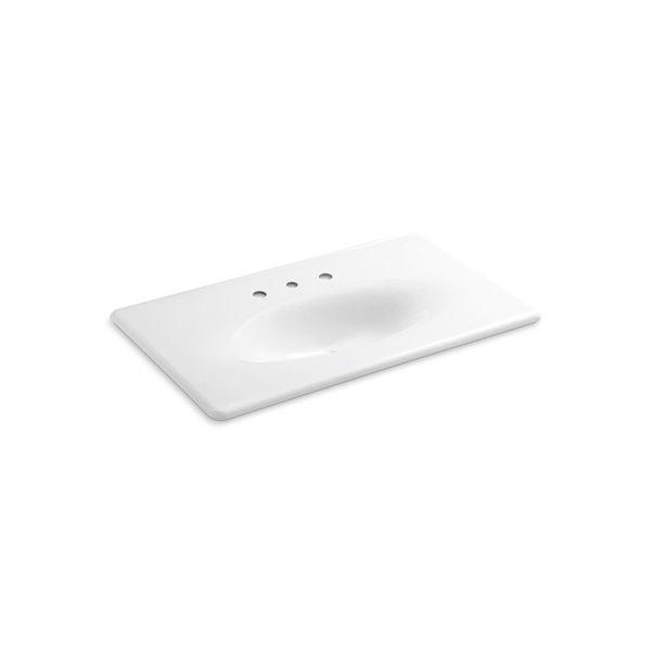 Lavabo de meuble-lavabo Iron/Impressions avec trous déployé, 37po, blanc