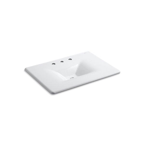Lavabode meuble-lavabo Iron/Impressions avec trous déployés 8po, 31po, blanc