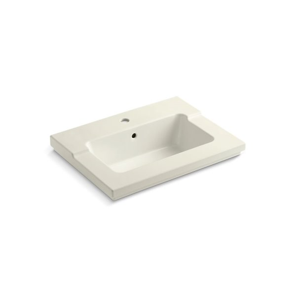 KOHLER Tresham Vanity-Top Bathroom Sink with Single Faucet Hole - Off-White