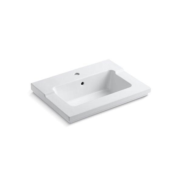 KOHLER Tresham Vanity-Top Bathroom Sink with Single Faucet Hole - White