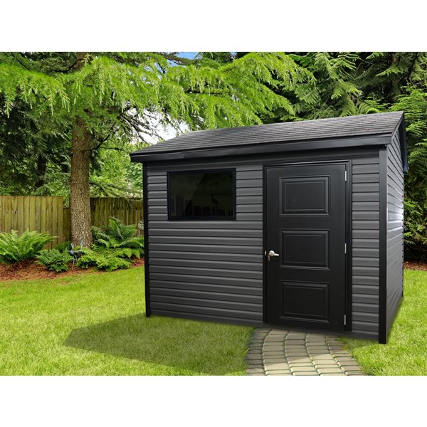 Riopel William Storage Shed - Black and Charcoal Vinyl - 8-ft x 10-ft -REQUIRES ASSEMBLY