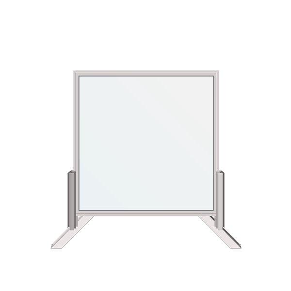 Écran de protection sanitaire Dusco pare-toux en verre, autoportant, 30 po x 30 po