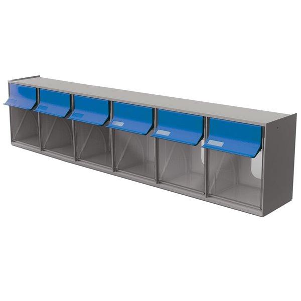 Tilt Bin G2 d'Ideal Security, 6 bacs, gris/bleu