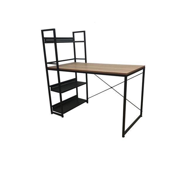 Bureau/bibliothèque combiné Leo JR Home Collection, 47 po, brun pâle/noir