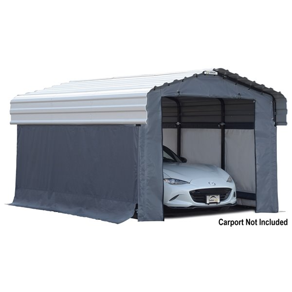 Enclosure Kit Accessory for 10x15 ft Carport Grey