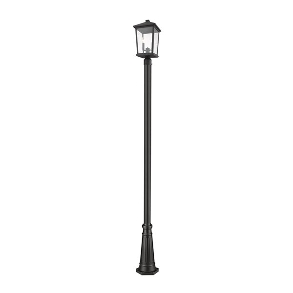 Luminaire à 2 ampoules d'extérieur Beacon de Z-Lite monté sur poteau, base texturée, 9,5 po x 103,25 po, noir/verre clair