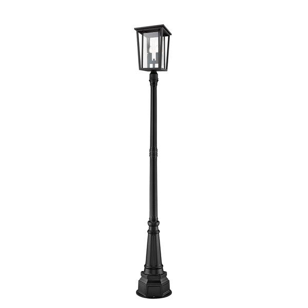 Luminaire à 2 ampoules d'extérieur Séoul de Z-Lite monté sur poteau, 14,25 po x 101,5 po, noir/verre clair