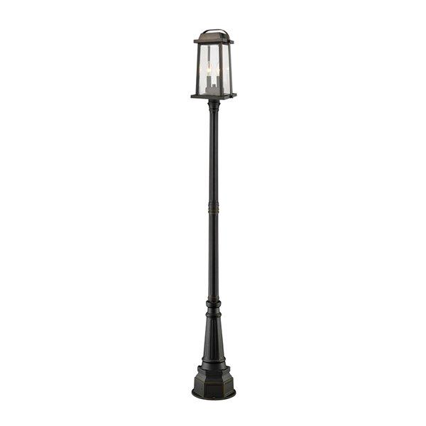 Luminaire à 3 ampoules d'extérieur Millworks de Z-Lite monté sur poteau, 14,25 po x 97 po, bronze frotté/verre clair