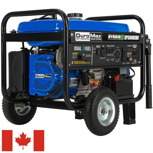 DuroMax Electric Start Dual Fuel Hybrid Portable Generator - 7.5 HP Engine - 5,000 Watts