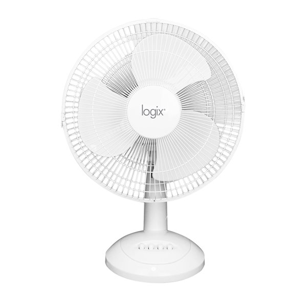 Logix Desk Fan Oscillation - White - 12-in