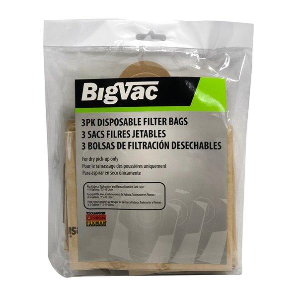 Big Vac 3 PK Disposable Filter Bags for Vacuum Cleaner - 4-5 Gal