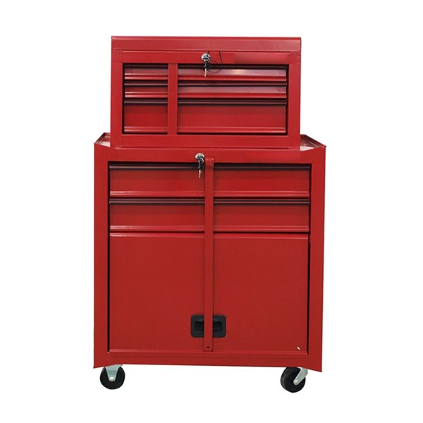 Toolmaster 5 Drawer Tool Chest Combo Tower - Red - 16-in x 28.5-in x 28-in