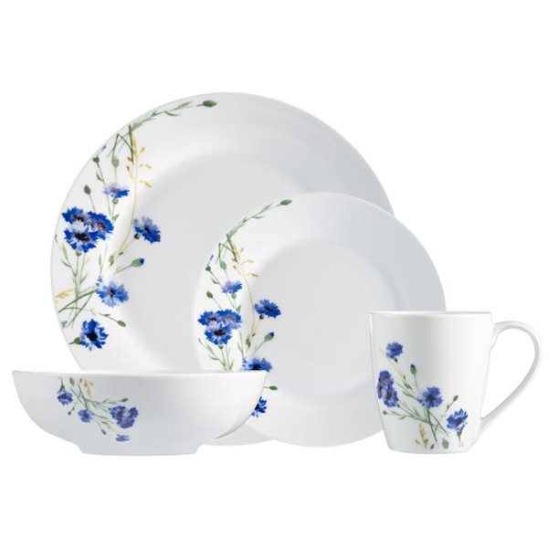 Safdie & Co. Dinnerware Set - Porcelain - White and Blue - 16 -Piece