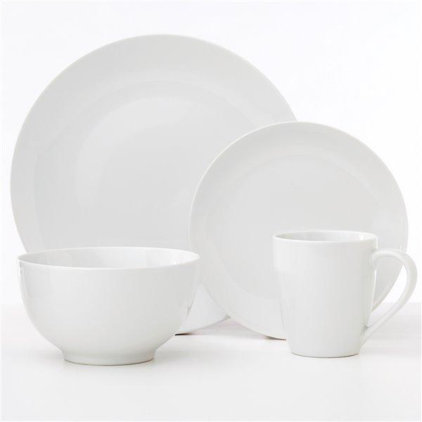 Safdie & Co. Classic Oxford Dinnerware Set - Porcelain - White - 16 -Piece