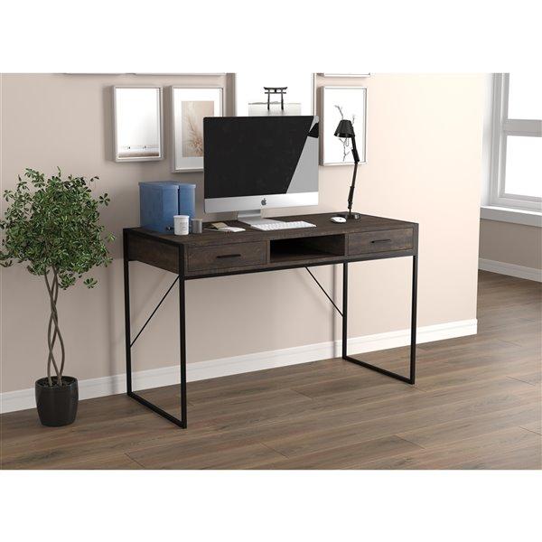 Bureau d'ordinateur Safdie & Co., 2 tiroirs et 1 tablette, 48 po, bois brun recyclé