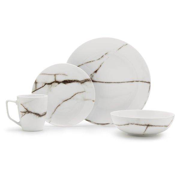 Safdie & Co. Dinnerware Set - Porcelain - Marble White - 16 -Piece