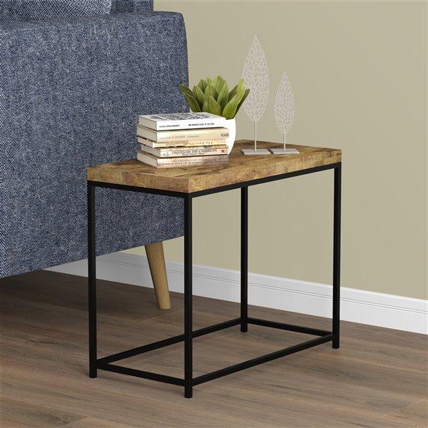 Safdie & Co. Rectangular Accent Table - 24-in - Brown Reclaimed Wood/Black Metal