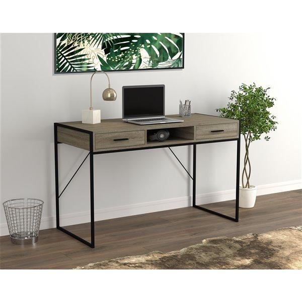 Bureau d'ordinateur Safdie & Co., 2 tiroirs et 1 tablette, 48 po, taupe foncé/métal noir