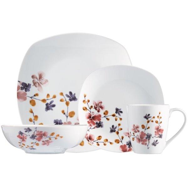 Safdie & Co. Dinnerware Set - Porcelain - White Bloom Pattern - 16 -Piece