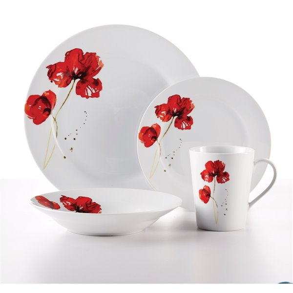 Safdie & Co. Ruby Poppi Round Dinnerware Set - Porcelain - White and Red - 16 -Piece