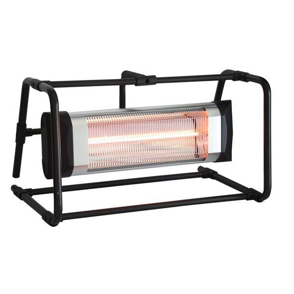 Chaufferette infrarouge électrique portative d'extérieur par EnerG+, 5 100 BTU, 16,14 po, noir/argent