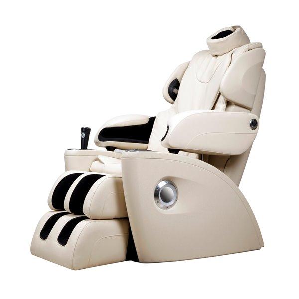 iComfort IC5500 Massage Recliner - Faux Leather - Ivory
