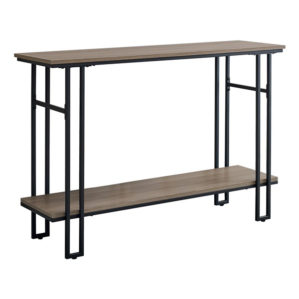 Monarch Specialties Console Table Taupe and Black Metal - 48-in L