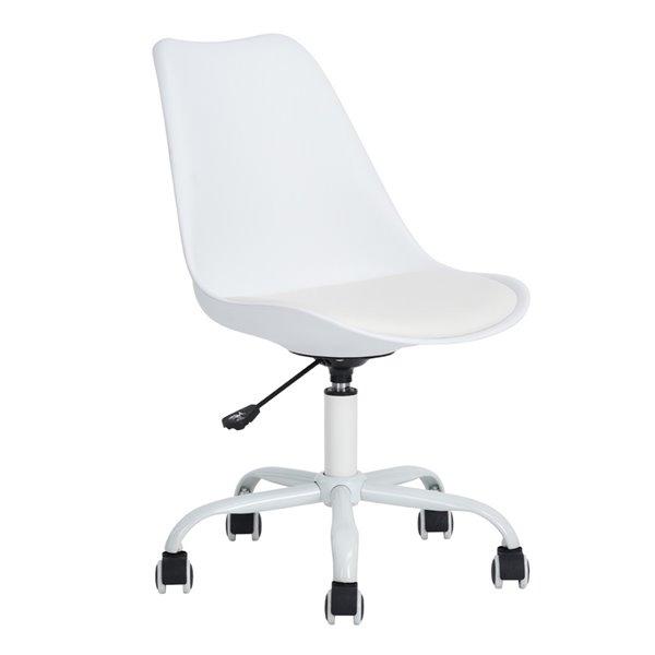Chaise de bureau BLOKHUS FurnitureR avec 5 roulettes et sans accoudoirs, blanche