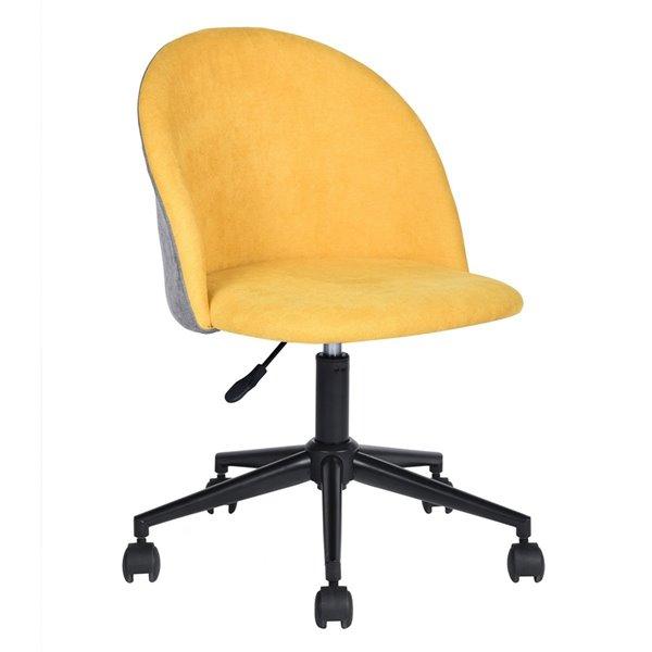 Chaise de bureau contemporaine DUDLEY FurnitureR en tissu jaune avec 5 roulettes
