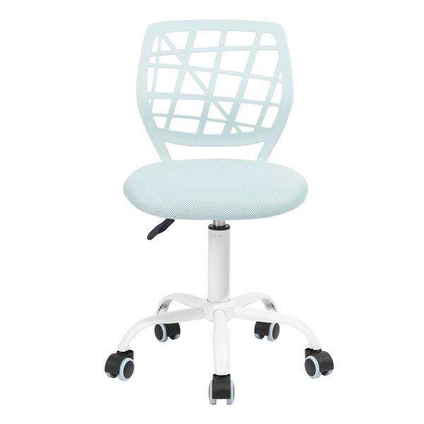 Chaise de bureau CARNATION PLICA FurnitureR à dossier ajouré et 5 roulettes, turquoise pâle