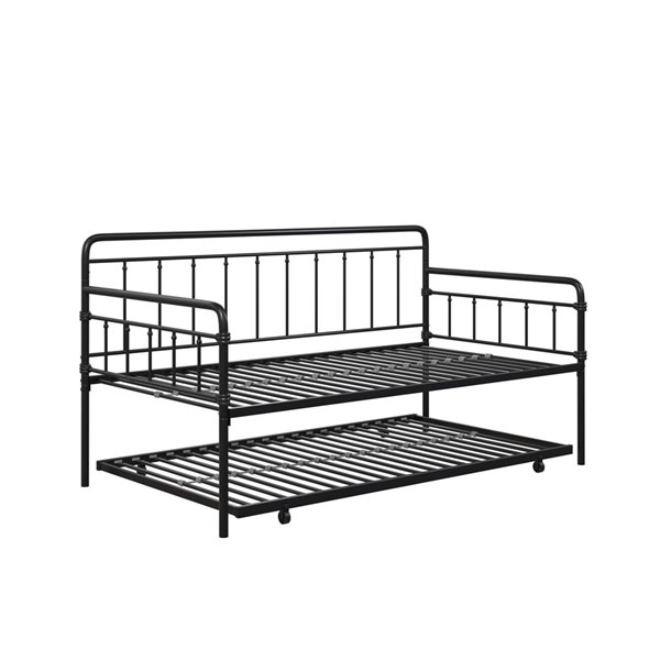 DHP Wallace Metal Daybed with Trundle - Twin - 41-in x 41-in x 77-in - Black