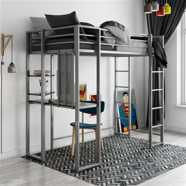 DHP Abode Study Loft Bed - Twin - 42.5-in x 80-in x 72-in - Black