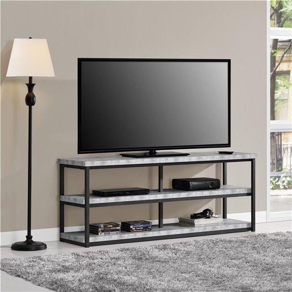 Meuble pour téléviseur jusqu'à 65 po Ashlar, 63 po x 16,5 po x 25 po, béton léger