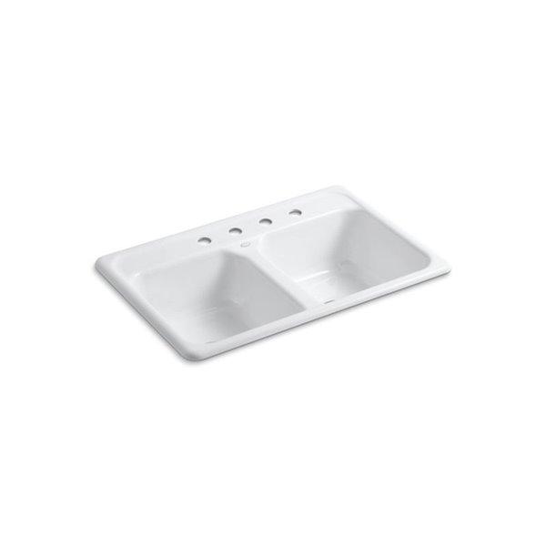 Évier de cuisine KOHLER K-5817-4 à installation sur surface, blanc