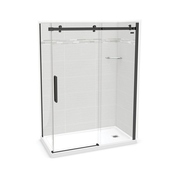 MAAX Utile Corner Shower Kit - Right Drain - 60-in x 32-in x 84-in - Origin Arctik - Black