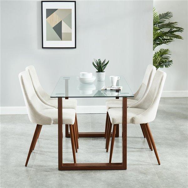 Ens. de salle à manger contemporain avec table en verre de Worldwide Homefurnishings, crème/beige/amande, 5 morceaux