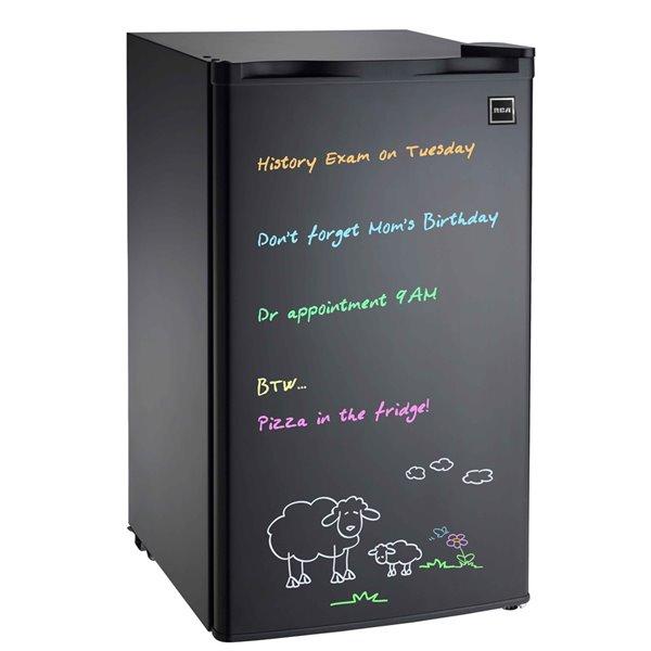 RCA 3.2 cu ft Freestanding Dry Eraser Board Mini Refrigerator with Freezer Compartment - Black