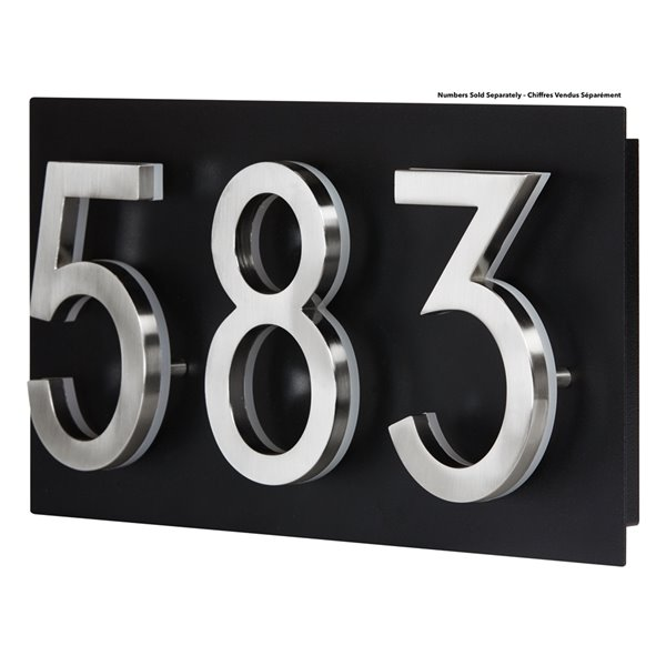 PRO-DF Contemporary Small Address Plaque - 7-in x 13-in - Black Steel