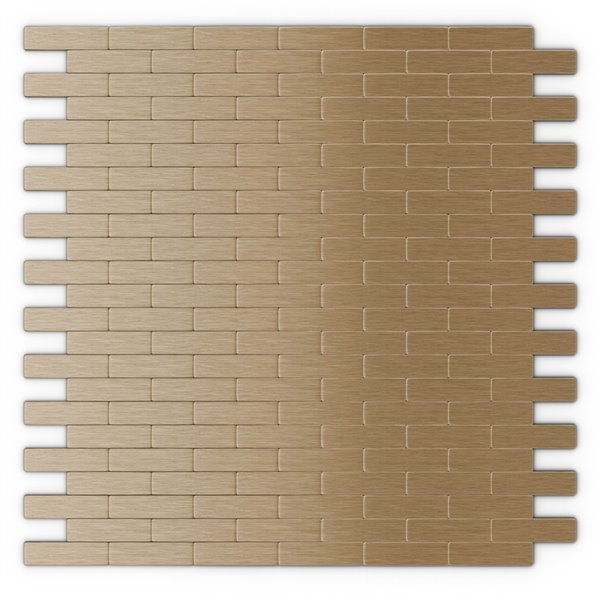 SpeedTiles Bricky Metal Peel and Stick Wall Tile - Brick Pattern - 11.81-in x 11.42-in - Light Copper
