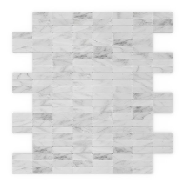 SpeedTiles Freezy Natural Stone Peel and Stick Wall Tile - Linear Pattern - 11.42-in x 11.57-in - White and Grey