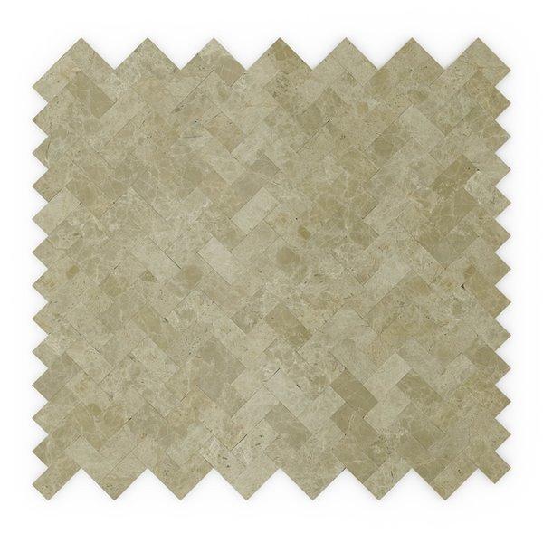SpeedTiles Macademia Natural Stone Peel and Stick Wall Tile - Herringbone Pattern - 12.09-in x 11.65-in - Beige