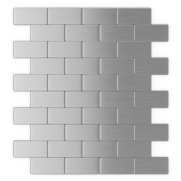 SpeedTiles Brick Metal Peel and Stick Wall Tile - Brick Pattern - 10.98-in x 11.8-in - Stainless Steel